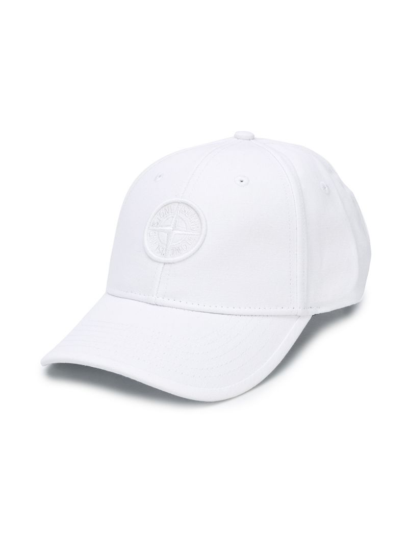 STONE ISLAND JUNIOR: logo embroidered canvas baseball cap Color White_1