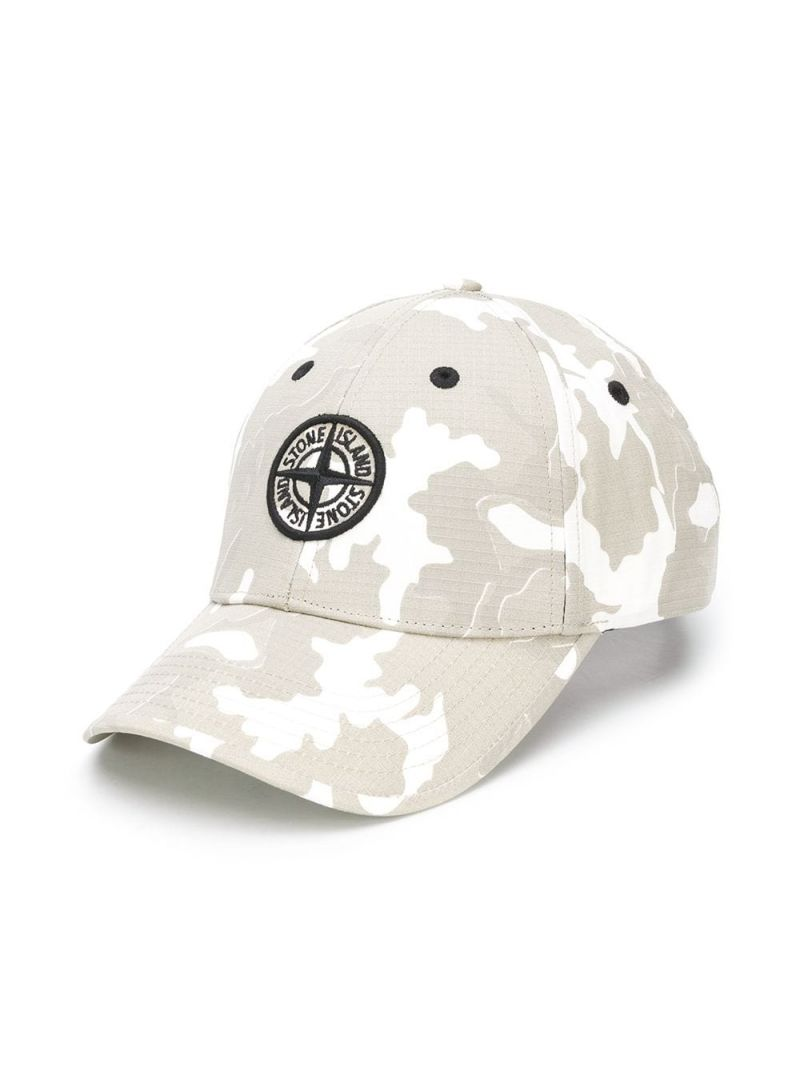 STONE ISLAND JUNIOR: camouflage print canvas baseball cap Color Neutral_1