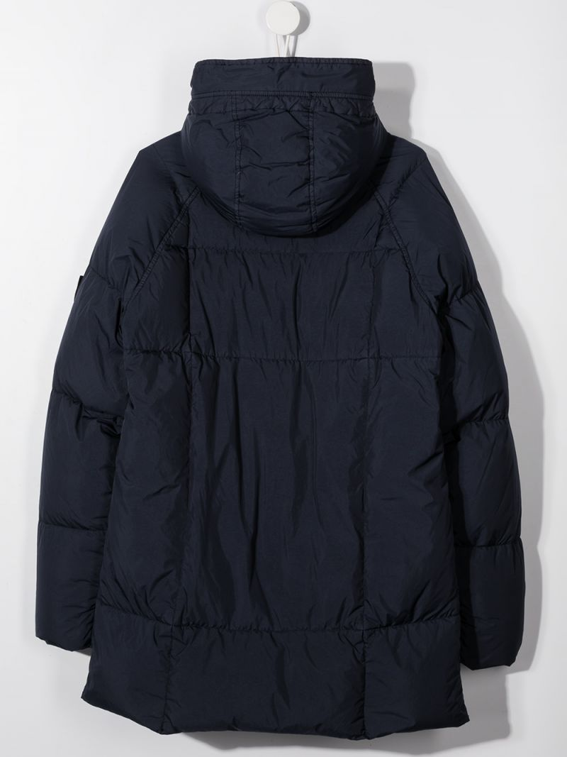 STONE ISLAND JUNIOR: logo badge-detailed nylon down jacket Color Blue_2
