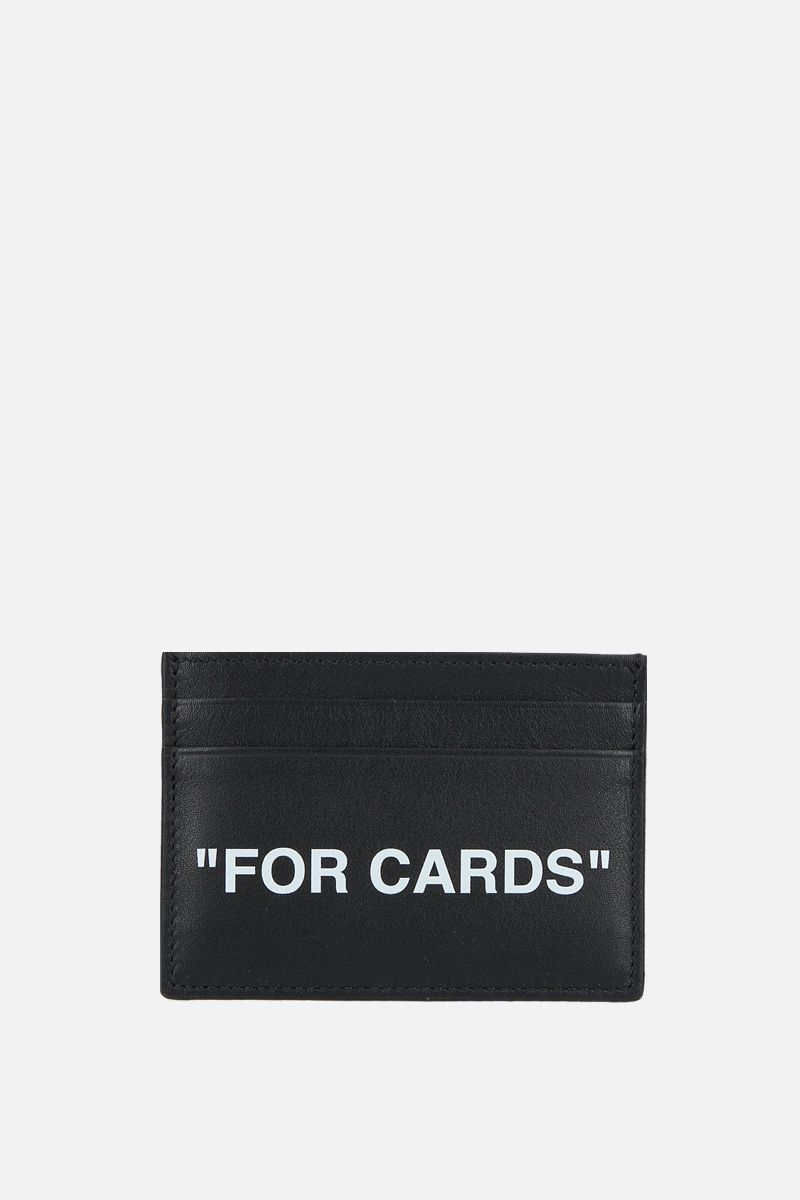 OFF WHITE: Quote smooth leather card case Color Black_1