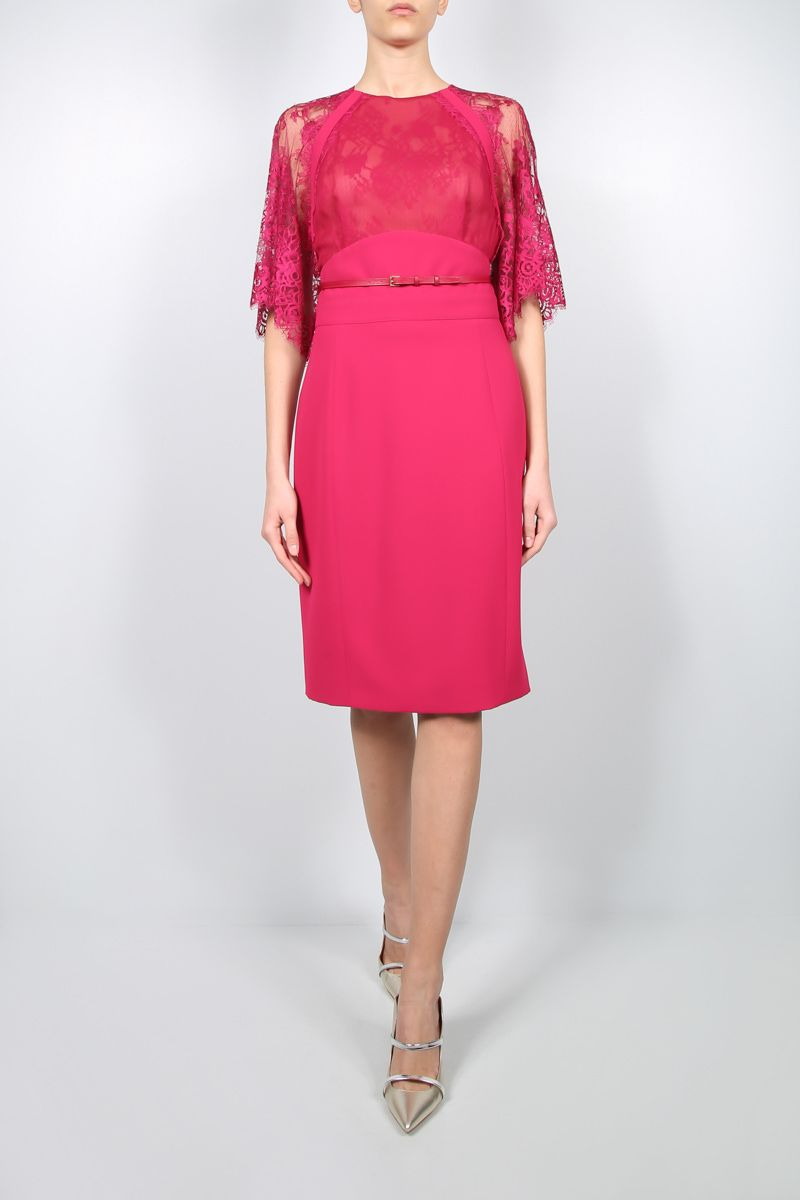 ELIE SAAB: cady and lace short dress Color Red_2