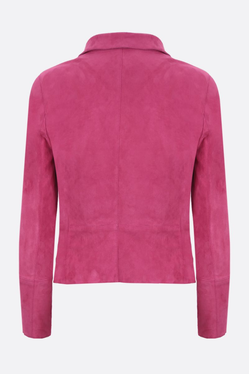 SYLVIE SCHIMMEL: giacca biker Metro in suede stretch Colore Rosa_2
