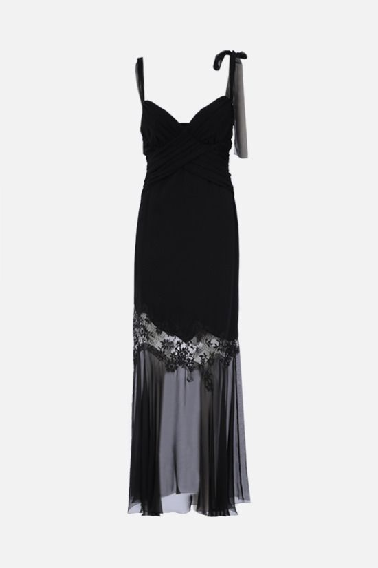 UNGARO: lace insert-detailed silk evening gown Color Black_1