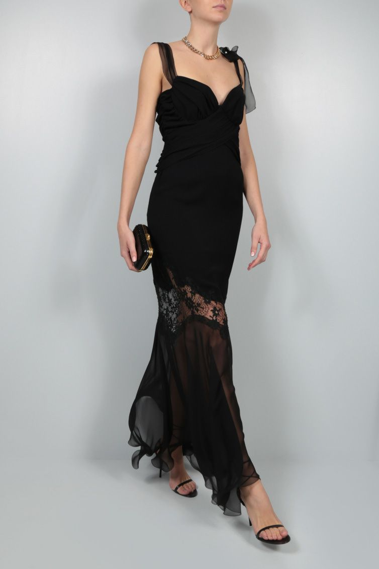 UNGARO: lace insert-detailed silk evening gown Color Black_2