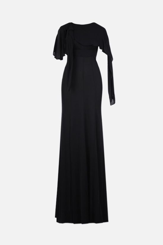 GIVENCHY: frill-detailed jersey long dress Color Black_1