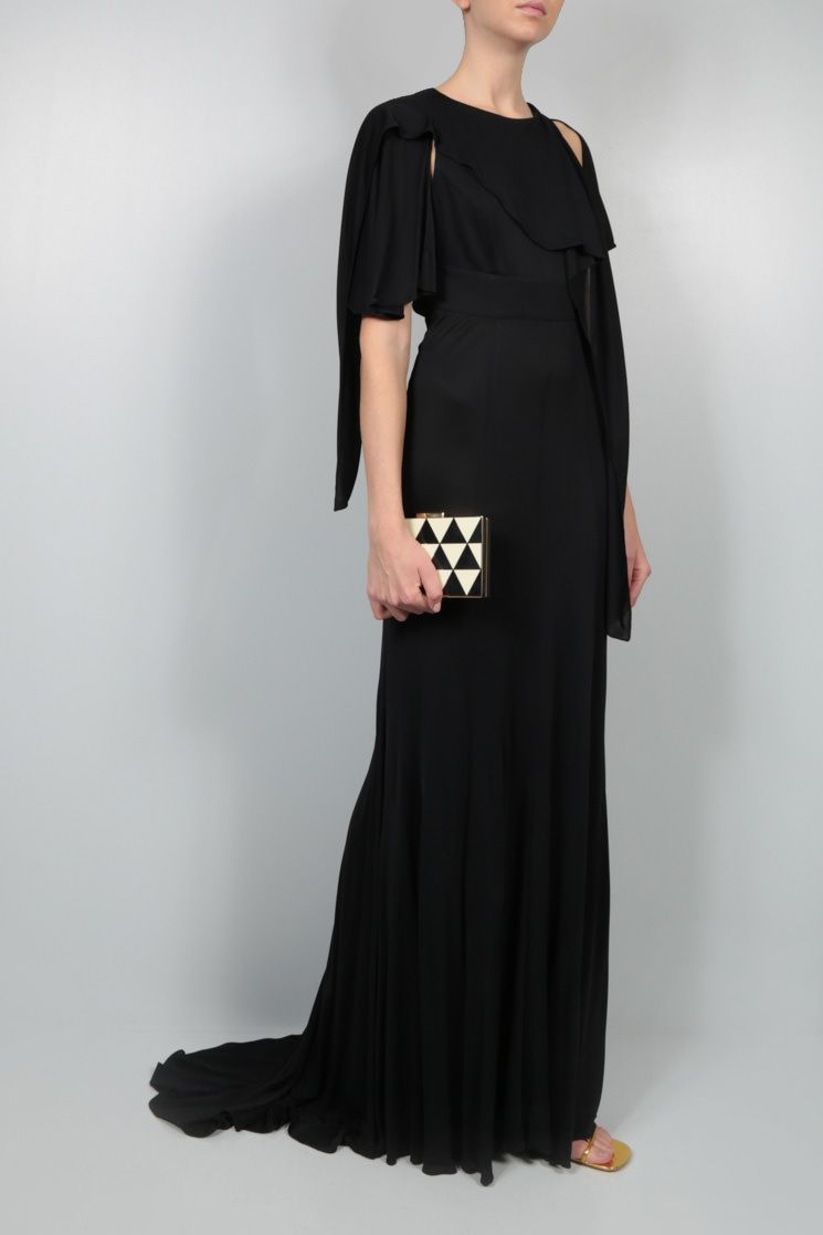 GIVENCHY: frill-detailed jersey long dress Color Black_2