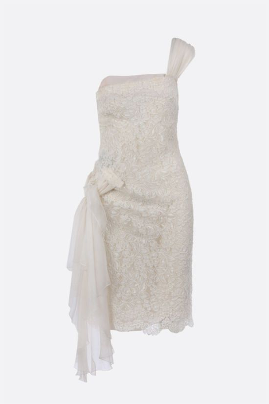VALENTINO: floral lace one-shoulder dress Color White_1