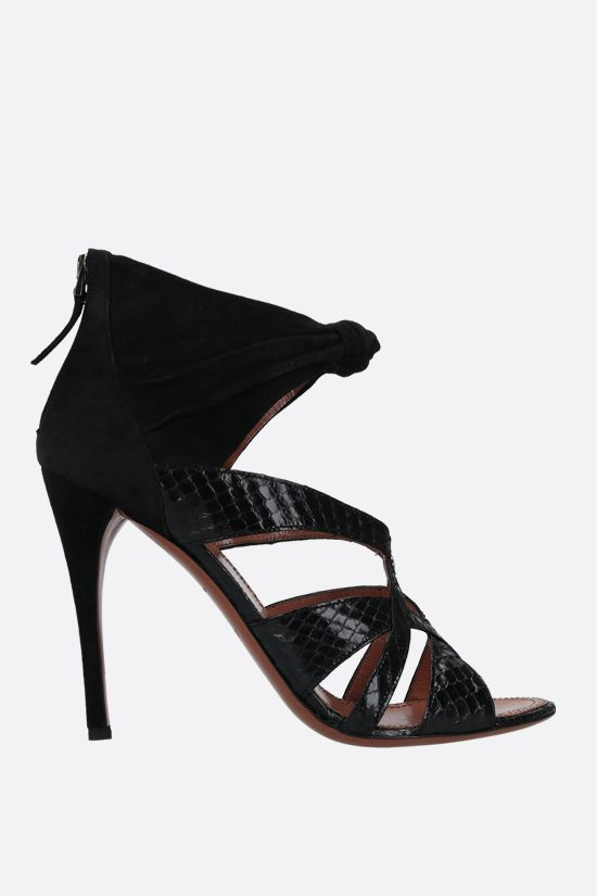 ALAIA: suede and snakeskin sandals Color Black_1