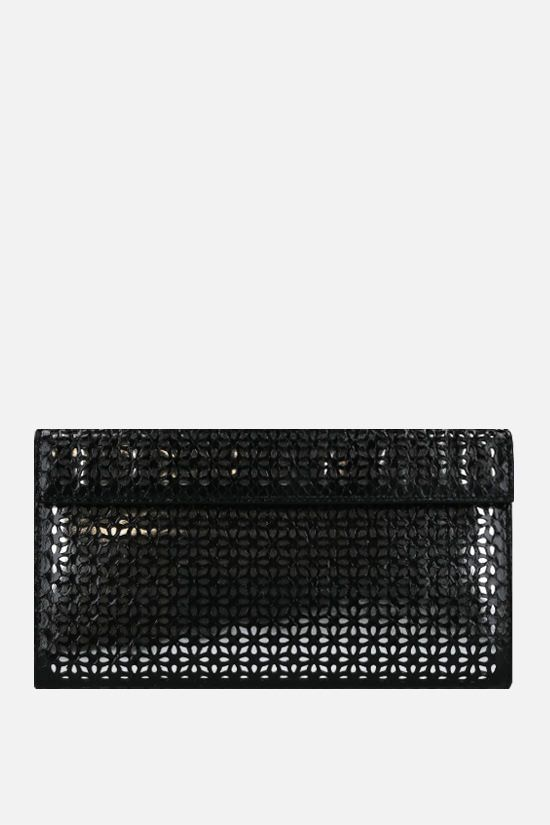 ALAIA: laser-cut python leather clutch Color Black_1