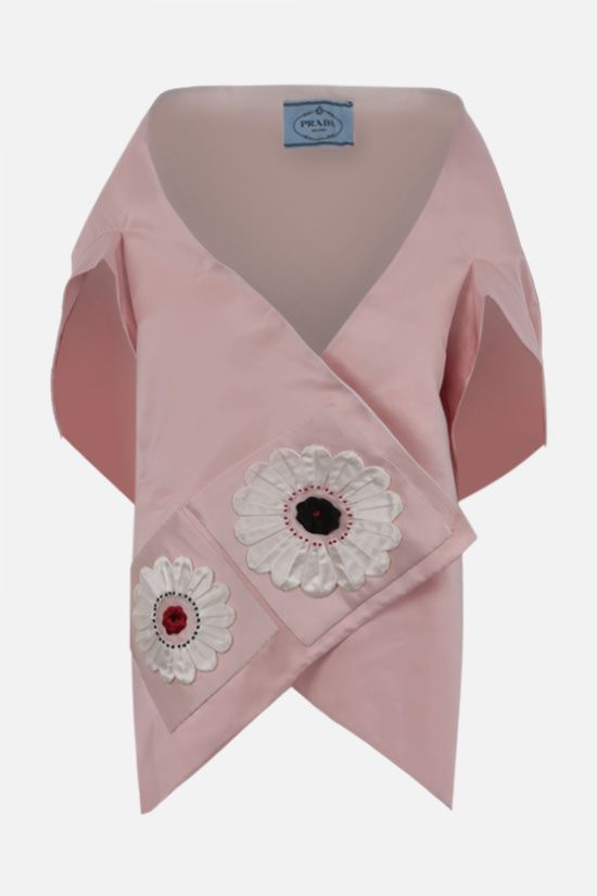 PRADA: floral patches silk satin stole Color Pink_1