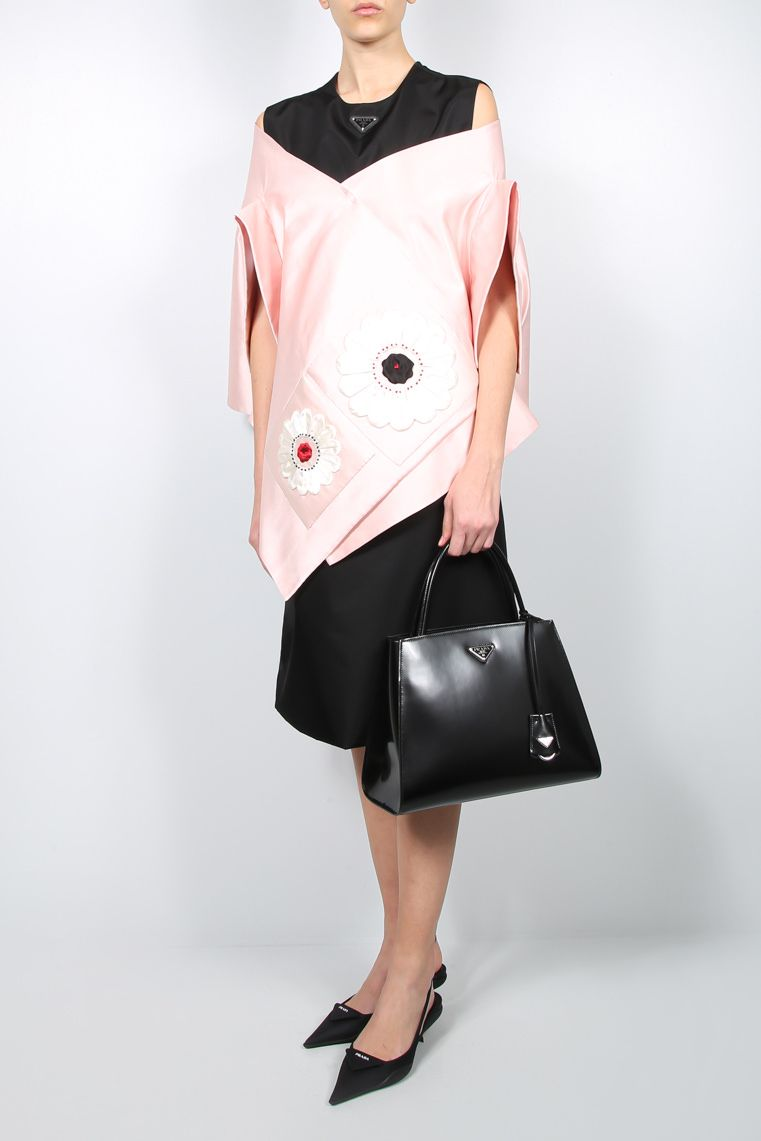 PRADA: floral patches silk satin stole Color Pink_2