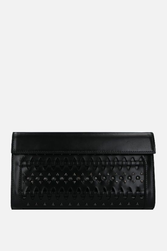 ALAIA: stud-detailed smooth leather clutch Color Black_1