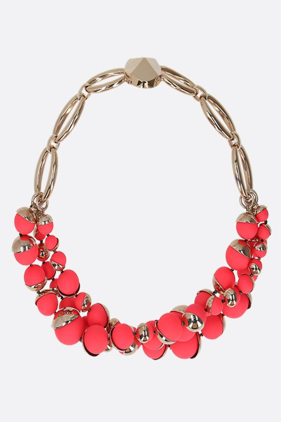 DIOR: pearl-embellished brass chain necklace Color Gold_1