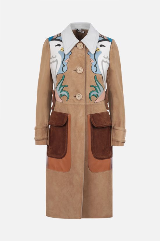 MIU MIU: single-breasted Face patch-detailed suede coat Color Neutral_1