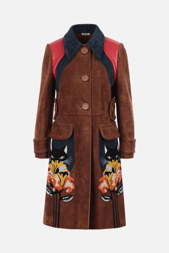 MIU MIU: single-breasted Flower patch-detailed suede coat Color Brown_1