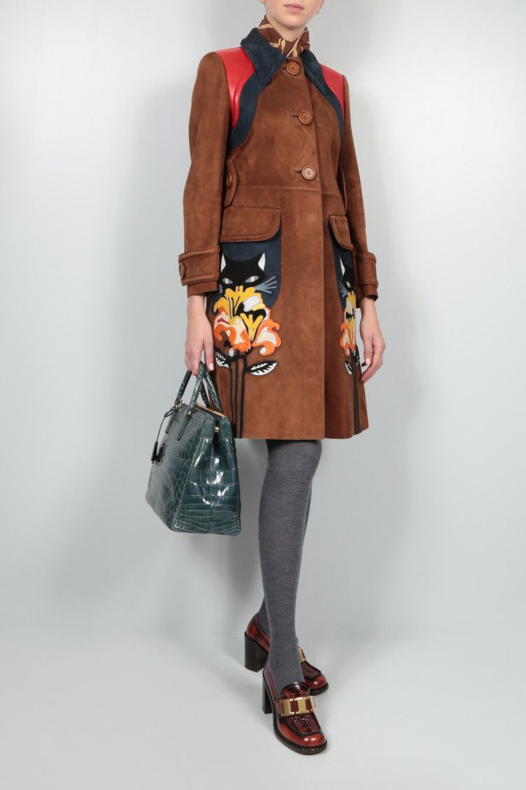 MIU MIU: single-breasted Flower patch-detailed suede coat Color Brown_2