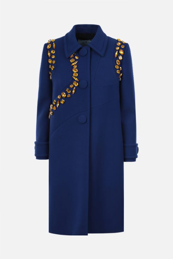 PRADA: single-breasted crystal-embellished nattè coat Color Yellow_1