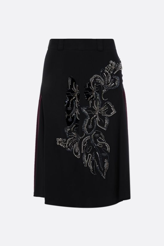 PRADA: embroidered sablè midi skirt Color Red_1