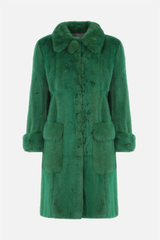 PRADA: single-breasted mink fur coat Color Green_1