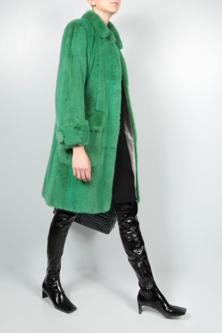 PRADA: single-breasted mink fur coat Color Green_2