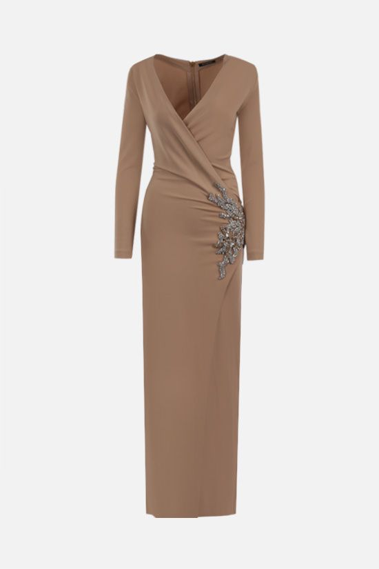 BALMAIN: jewel detail jersey long dress Color Neutral_1