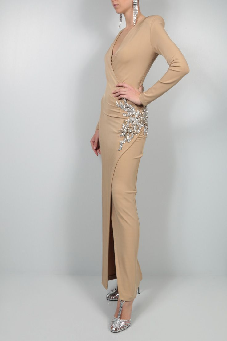 BALMAIN: jewel detail jersey long dress Color Neutral_2