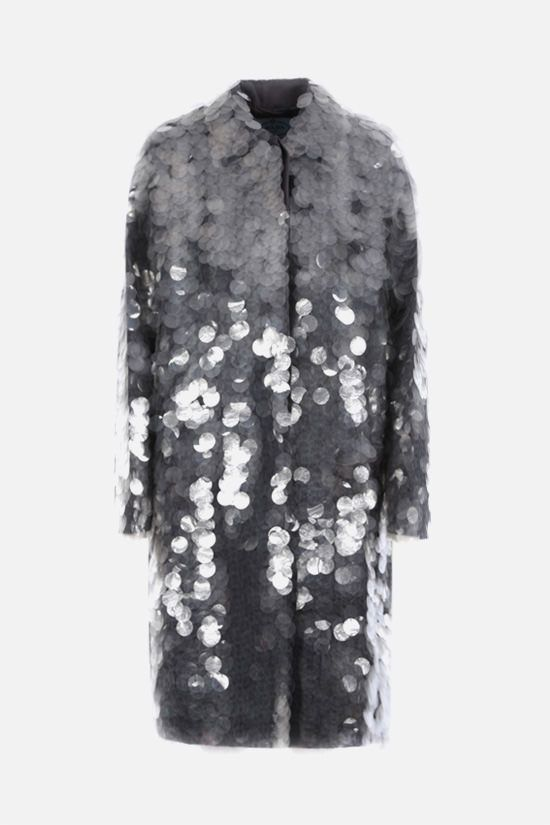 PRADA: sequin-embellished technical fabric coat Color Grey_1