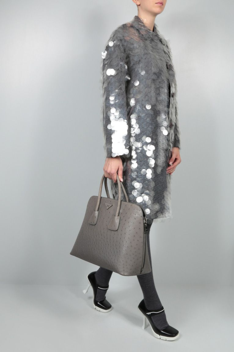 PRADA: sequin-embellished technical fabric coat Color Grey_2