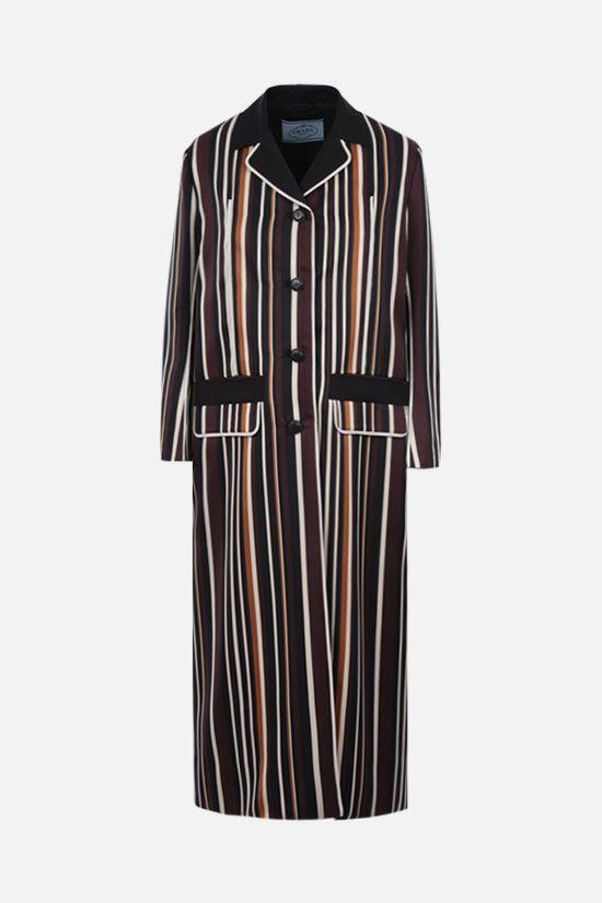 PRADA: striped radzmire overcoat Color Multicolor_1