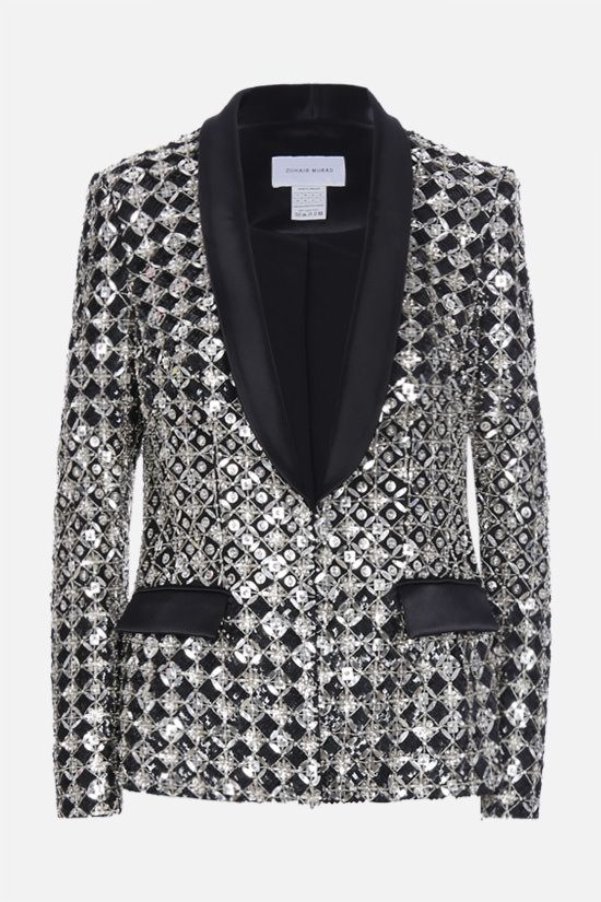 ZUHAIR MURAD: sequin and crystal-embroidered jacket Color Black_1