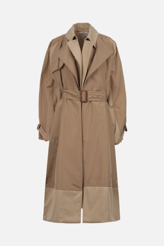 CELINE: double layer silk cotton trench coat Color Neutral_1