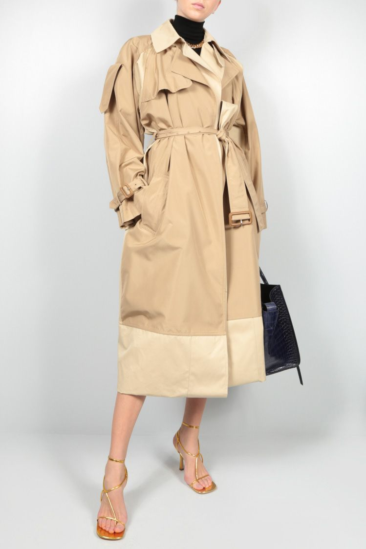 CELINE: double layer silk cotton trench coat Color Neutral_2