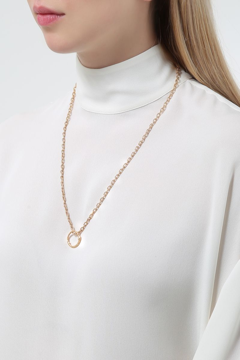 GUCCI: yellow gold necklace with Ouroboros charm Color Gold_2
