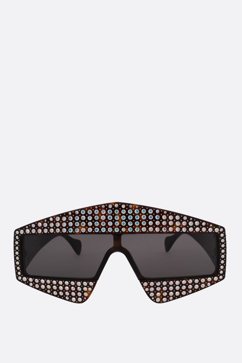 GUCCI: rectangular-frame sunglasses with crystals Color Neutral_1