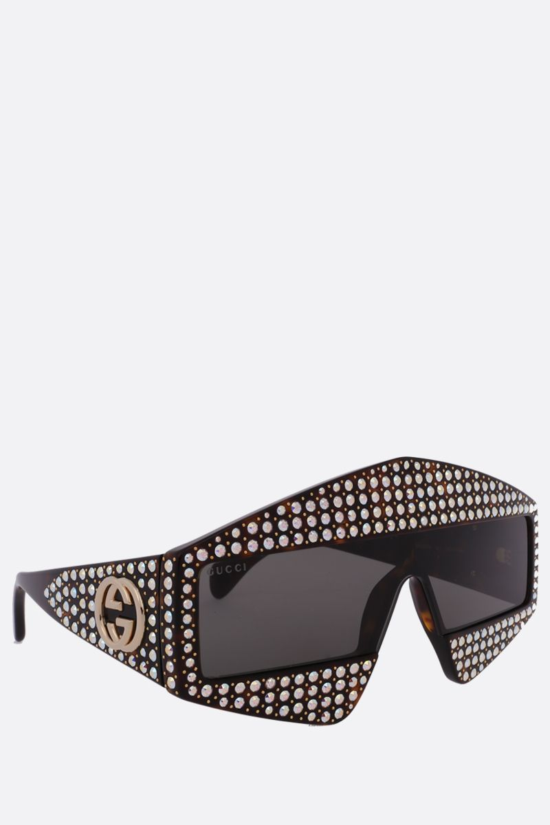 GUCCI: rectangular-frame sunglasses with crystals Color Neutral_2