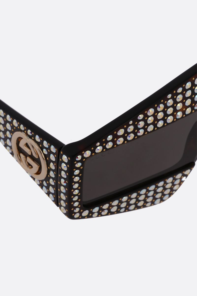 GUCCI: rectangular-frame sunglasses with crystals Color Neutral_3