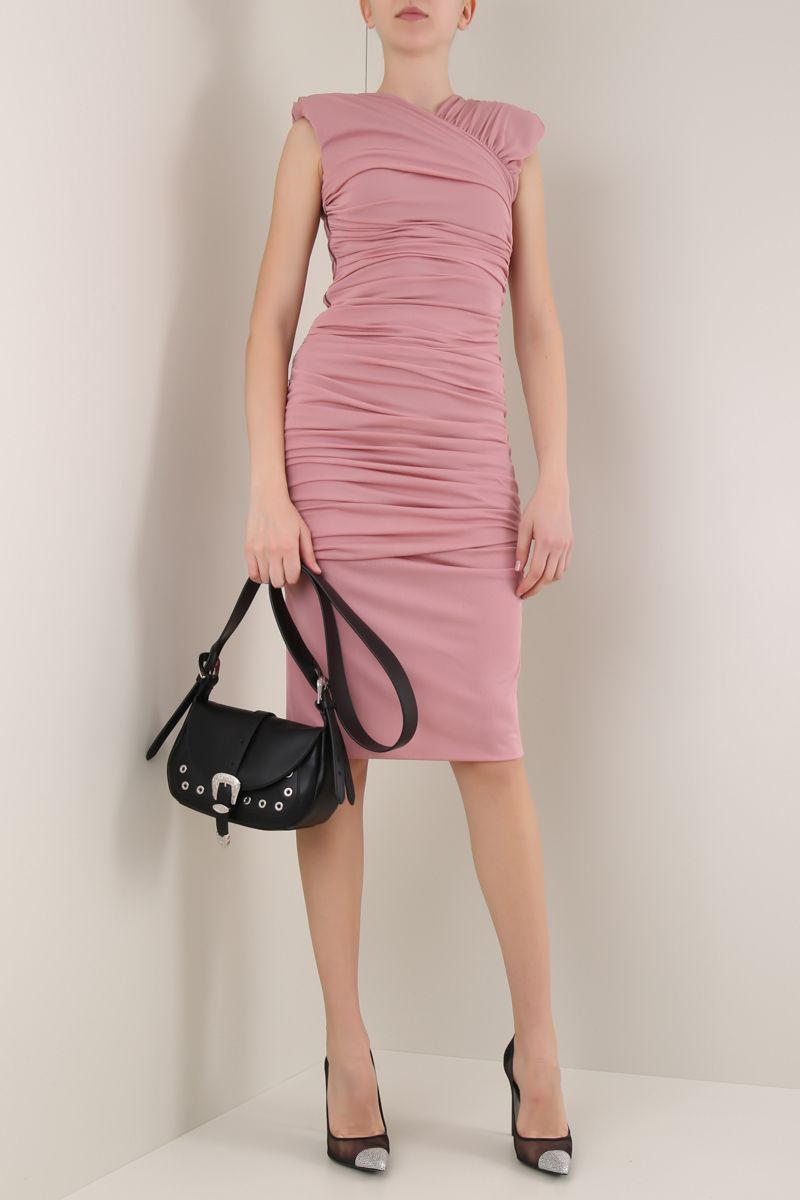 TOM FORD: draped jersey minidress Color Pink_2