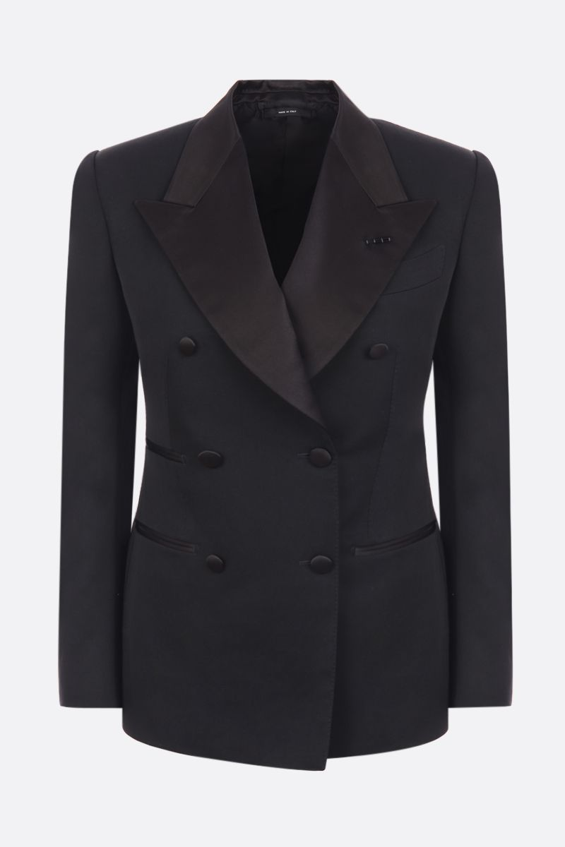 TOM FORD: lightweight wool double-breasted blazer Color Black_1