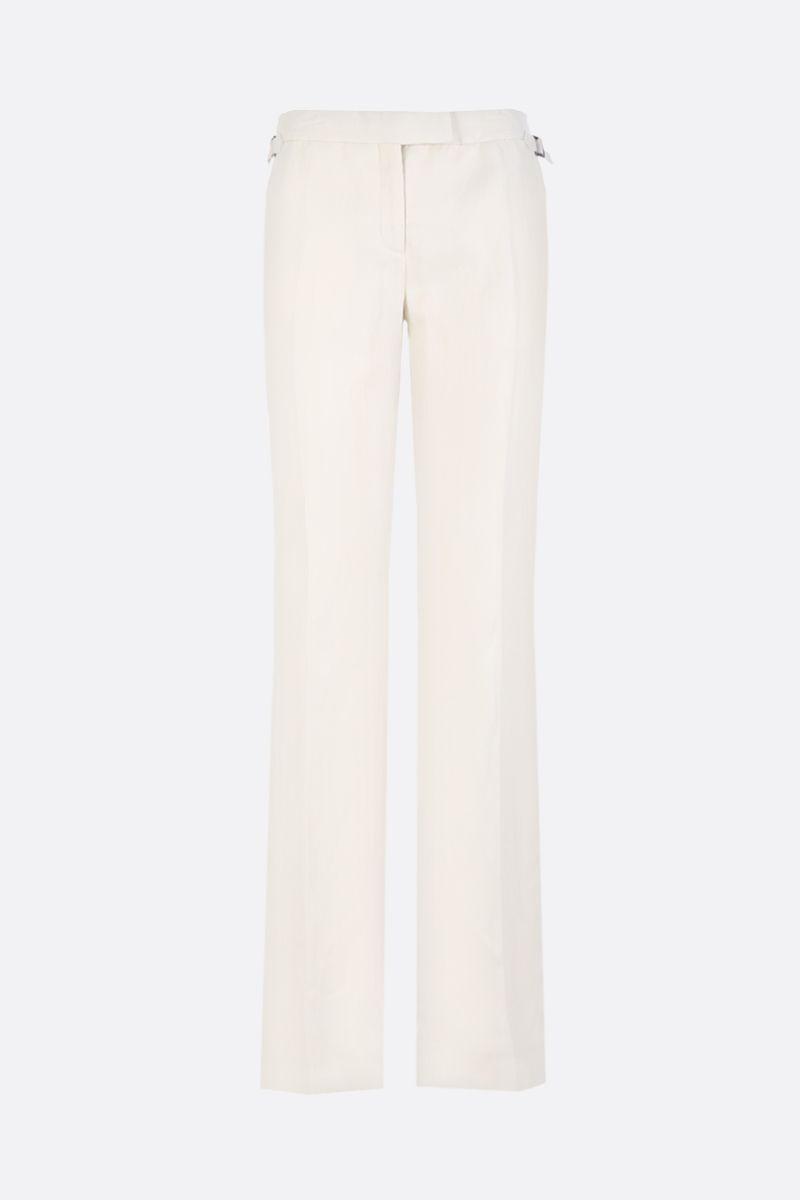 TOM FORD: linen blend straight fit pants Color Brown_1
