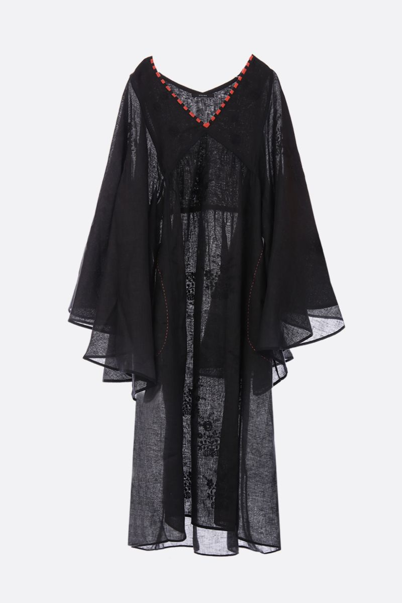 VITA KIN: linen caftan with floral embroidery Color Black_1