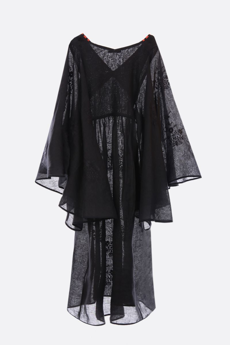 VITA KIN: linen caftan with floral embroidery Color Black_2