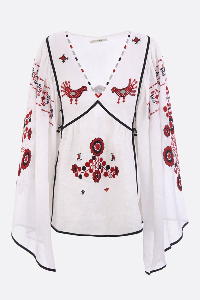 VITA KIN: linen blouse with floral embroidery Color Red_1