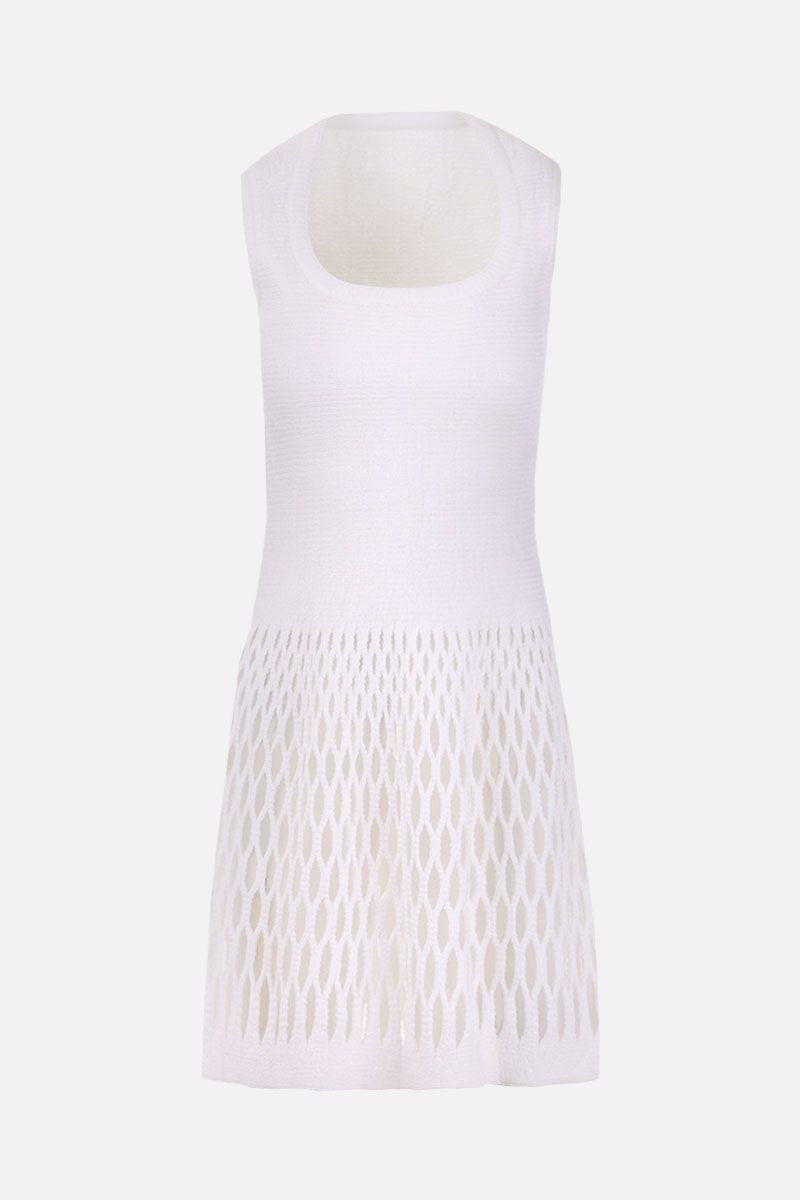 ALAIA: Diaphane knitted short dress Color White_1