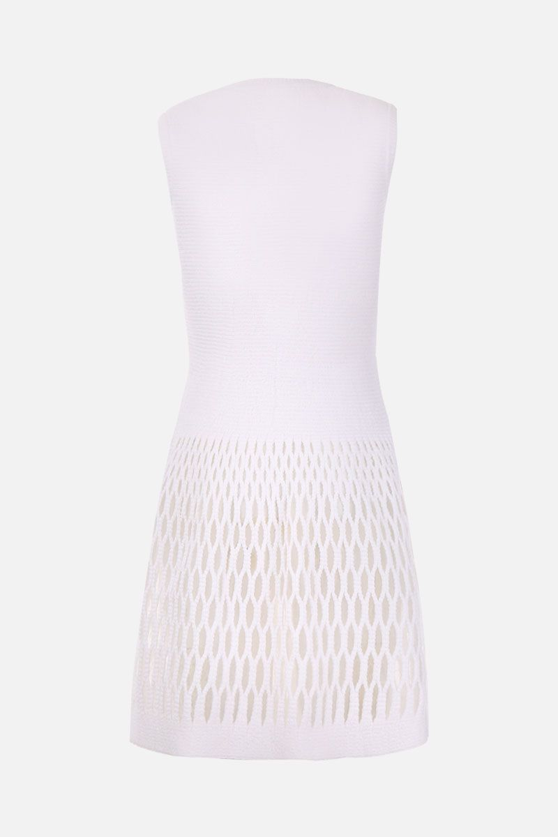 ALAIA: Diaphane knitted short dress Color White_2