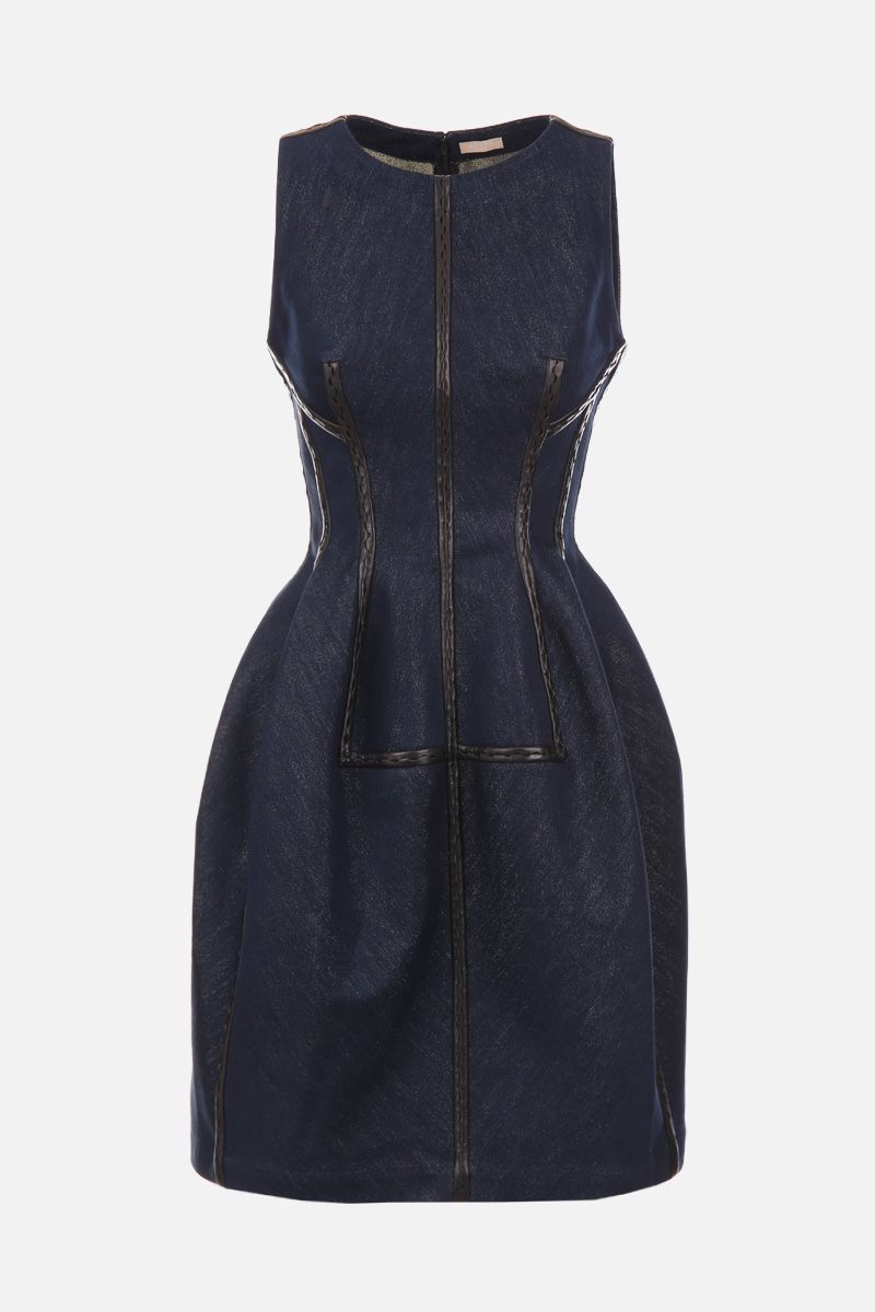 ALAIA: denim lux short dress with leather details Color Gold_1