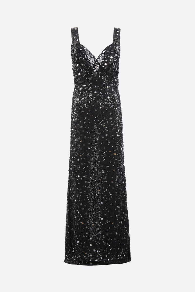 THE ATTICO: tulle long dress with star-shaped sequins Color Black_1