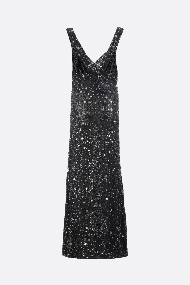 THE ATTICO: tulle long dress with star-shaped sequins Color Black_2