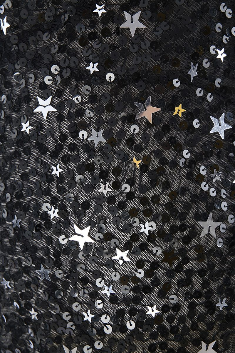 THE ATTICO: tulle long dress with star-shaped sequins Color Black_3