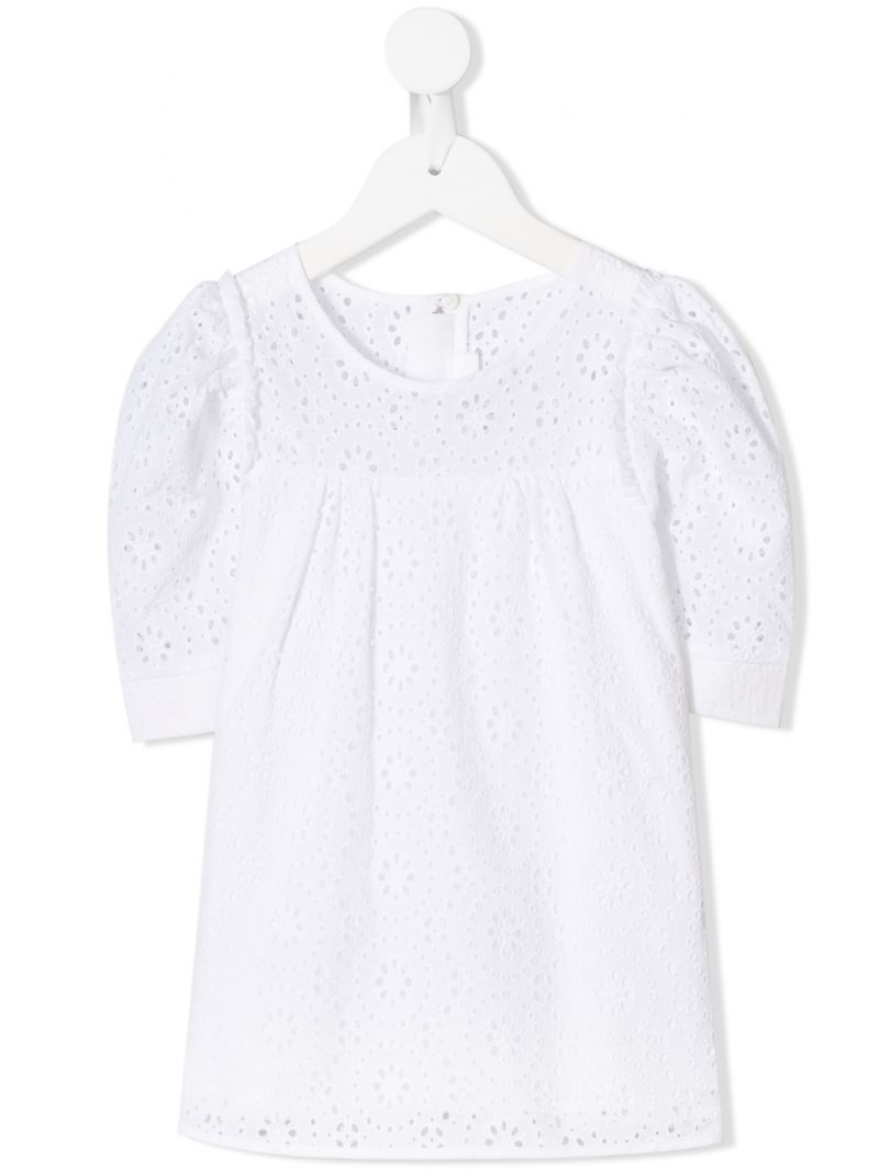 CHLOÈ KIDS: broderie anglaise blouse Color White_1
