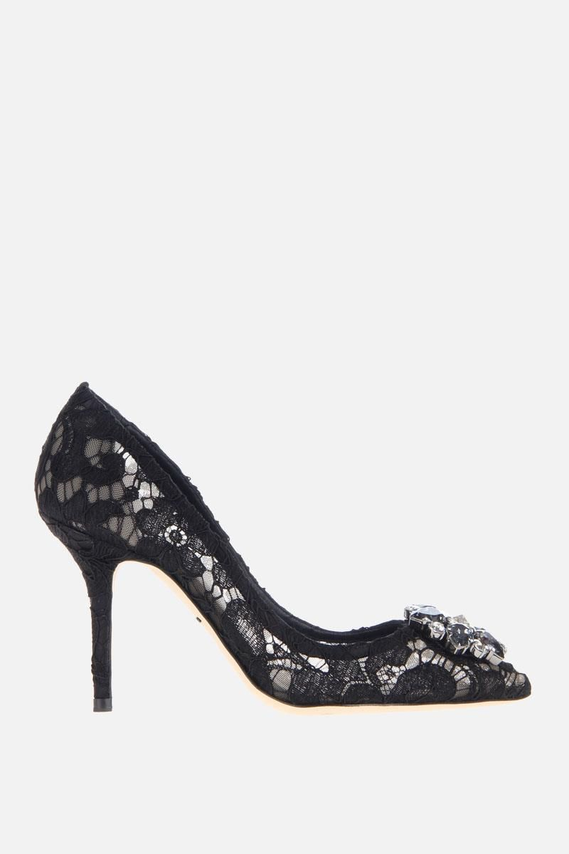 DOLCE & GABBANA: Bellucci pumps in Taormina lace with crystals Color Black_1